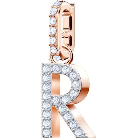 Swarovski Remix Collection Charm R, White, Rose-gold tone plated - Swarovski, 5437617