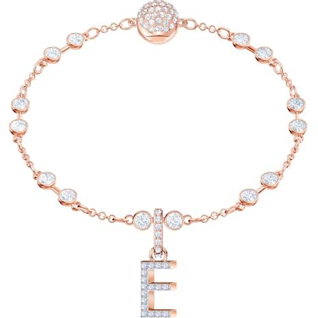Swarovski Remix Collection Charm E, blanc, Métal doré rose - Swarovski, 5437621