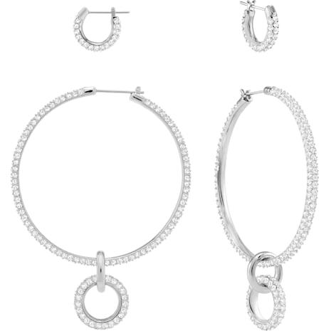 Stone Pierced Earring Set, White, Rhodium plated - Swarovski, 5437971