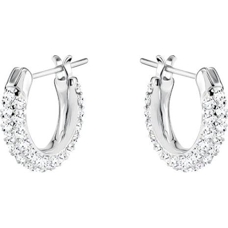 Stone 穿孔耳環套裝, 白色, 鍍白金色 - Swarovski, 5437971