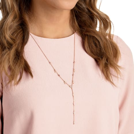 One Y Necklace, Multi-colored, Rose-gold tone plated - Swarovski, 5439313