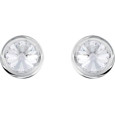 Round 袖扣, 白色, 不銹鋼 - Swarovski, 5440319