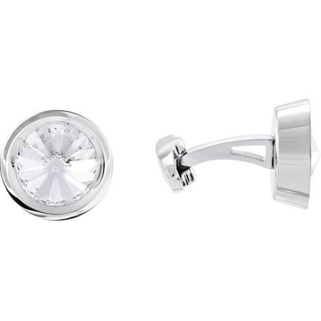 Round Cuff Links, White, Stainless steel - Swarovski, 5440319