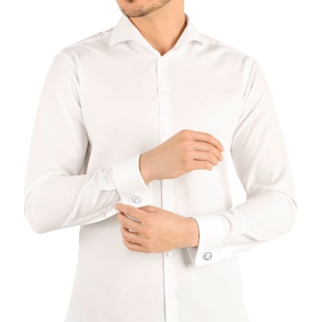 Boutons de Manchettes Round, blanc, acier inoxydable - Swarovski, 5440319