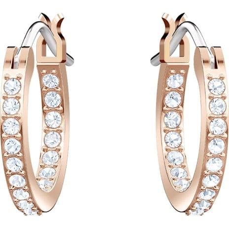 Swarovski Symbolic Moon Hoop Pierced Earrings Black Rose Gold Tone Plated