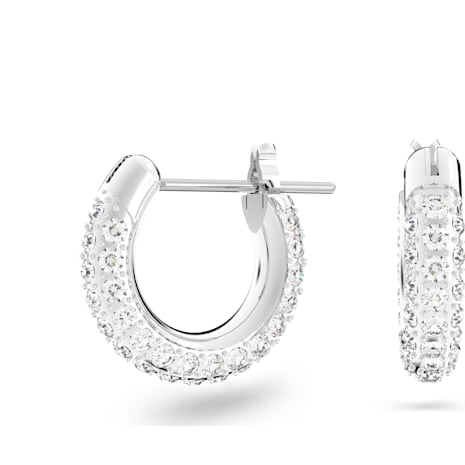 Stone Pierced Earrings, White, Rhodium plated - Swarovski, 5446004