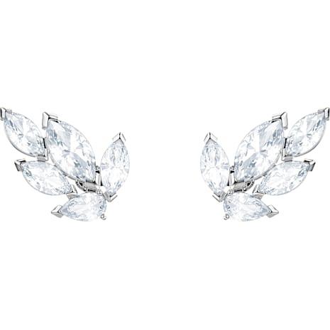 Louison Stud Pierced Earrings, White, Rhodium plated - Swarovski, 5446025