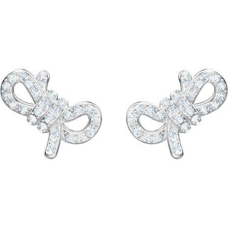 Boucles d'oreilles Lifelong Bow, blanc, Métal rhodié - Swarovski, 5447080