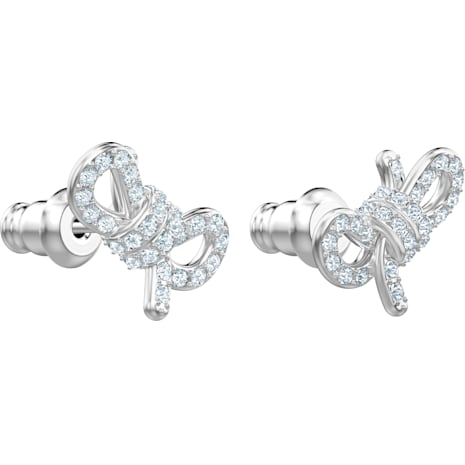 Pendientes Lifelong Bow, blanco, Baño de Rodio - Swarovski, 5447080