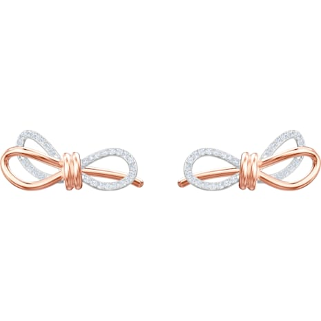 Lifelong Bow Pierced Earrings, White, Mixed metal finish - Swarovski, 5447089