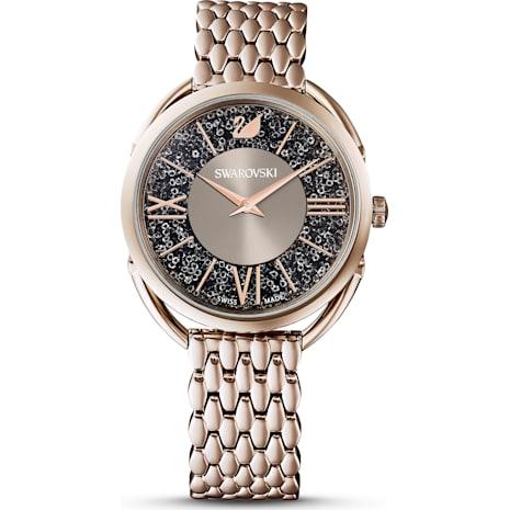 Crystalline Glam Uhr, Metallarmband, grau, Champagne vergoldetes PVD-Finish - Swarovski, 5452462