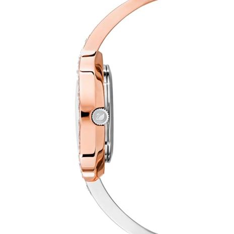 Lovely Crystals Bangle Watch, Metal bracelet, White, Bicolor PVD - Swarovski, 5452486