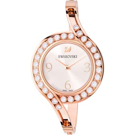 Montre Lovely Crystals Bangle, Bracelet en métal, blanc, PVD doré rose - Swarovski, 5452489