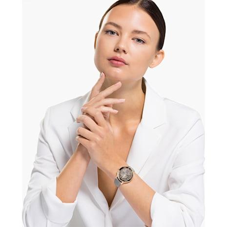 Octea Lux Chrono Uhr, Lederarmband, grau, Rosé vergoldetes PVD-Finish - Swarovski, 5452495