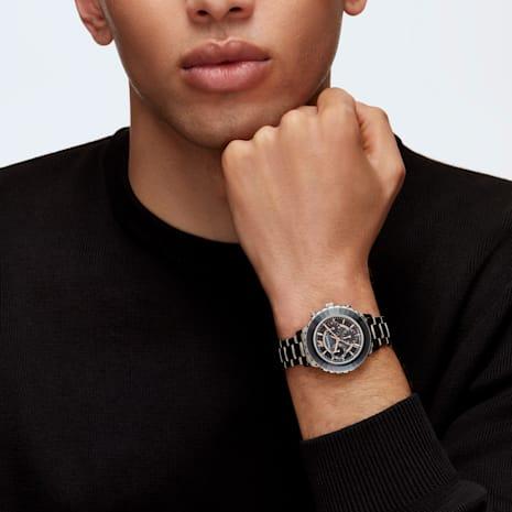 Octea Lux Chrono Watch, Metal bracelet, Black, Stainless steel - Swarovski, 5452504