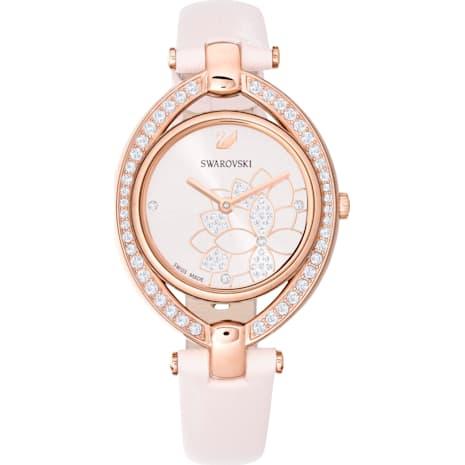 Reloj Stella, Correa de piel, rosa, PVD en tono Oro Rosa - Swarovski, 5452507