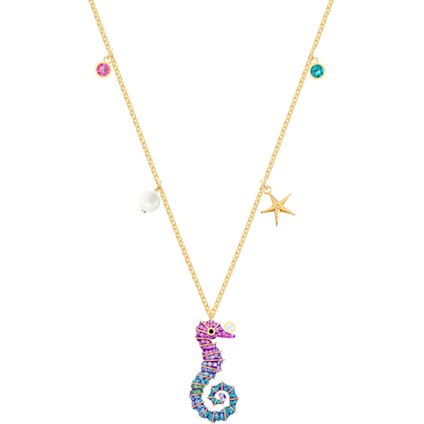 Ocean Seahorse Pendant, Multi-colored, Gold-tone plated - Swarovski, 5452562