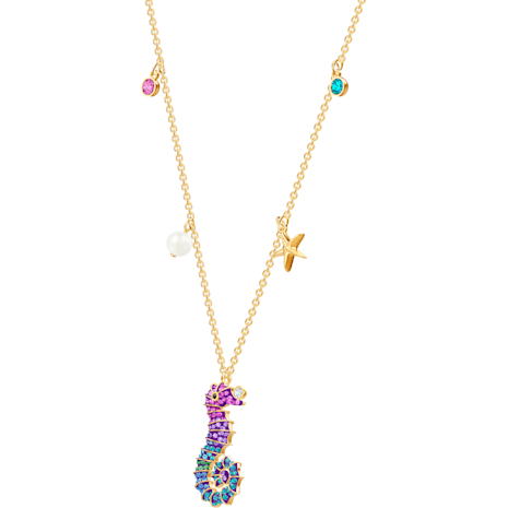 Ocean Seahorse Pendant, Multi-coloured, Gold-tone plated - Swarovski, 5452562
