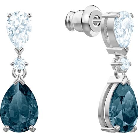 Pendientes Vintage, azul, Baño de Rodio - Swarovski, 5452579