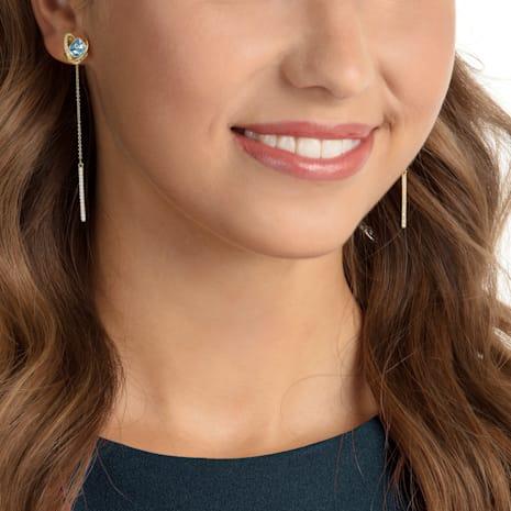 Outstanding 穿孔耳環花托, 海藍色, 鍍金色色調 - Swarovski, 5455034