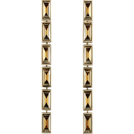 Fluid Drop Pierced Earrings, Brown, Gold-tone plated - Swarovski, 5455632