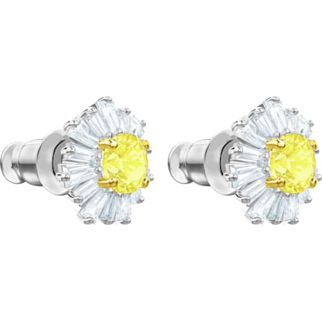 Sunshine 穿孔耳環, 白色, 鍍白金色 - Swarovski, 5459591