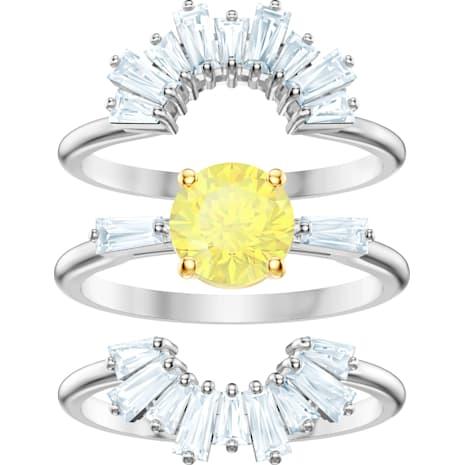 Conjunto de anillos Sunshine, blanco, Baño de Rodio - Swarovski, 5459595