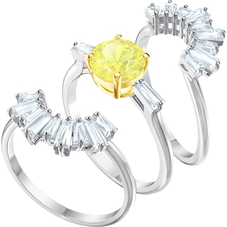 Sunshine Ring Set, White, Rhodium plated - Swarovski, 5459595