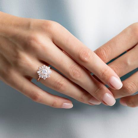 Anillo Sunshine, blanco, Baño en tono Oro Rosa - Swarovski, 5459599