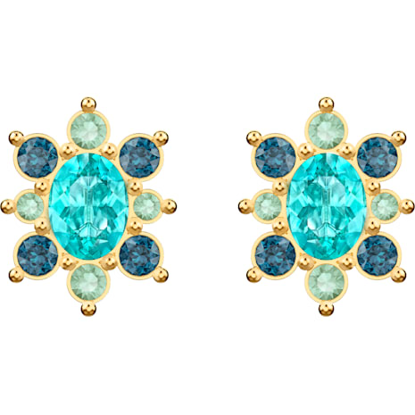 Lucky Goddess Pierced Earrings, Multi-colored, Gold-tone plated - Swarovski, 5461791