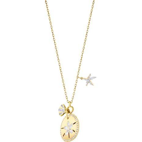 Ocean Sand Coin Necklace, White, Gold-tone plated - Swarovski, 5462580
