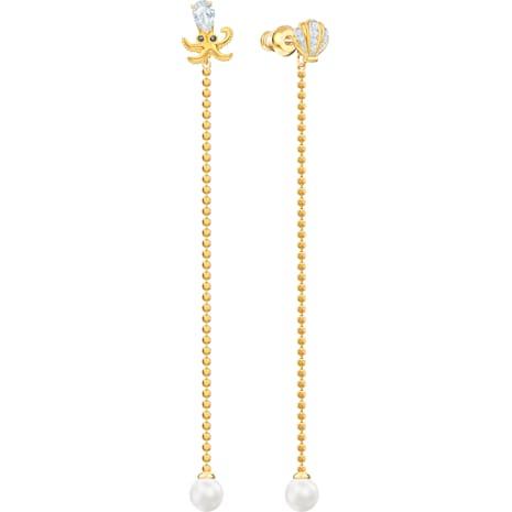 Ocean Octopus 穿孔耳環, 多色設計, 混搭多種鍍層 - Swarovski, 5462583