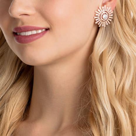 Pendientes de clip Sunshine, blanco, Baño en tono Oro Rosa - Swarovski, 5464833