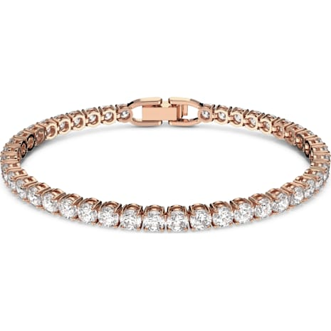 Tennis Bracelet, White, Rose-gold tone plated - Swarovski, 5464948