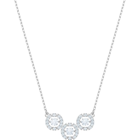 Swarovski Sparkling Dance Trilogy Necklace, White, Rhodium plated - Swarovski, 5465275