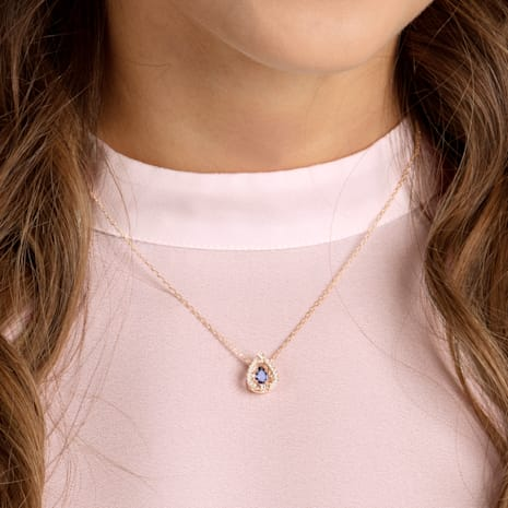Swarovski Sparkling Dance Pear Necklace, Blue, Rose-gold tone plated - Swarovski, 5465281