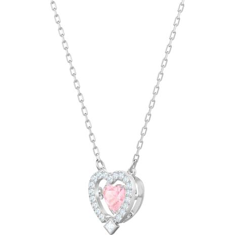 Collar Swarovski Sparkling Dance Heart, rosa, Baño de Rodio - Swarovski, 5465284