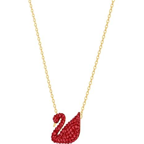 Iconic Swan Pendant, Red, Gold-tone plated - Swarovski, 5465400