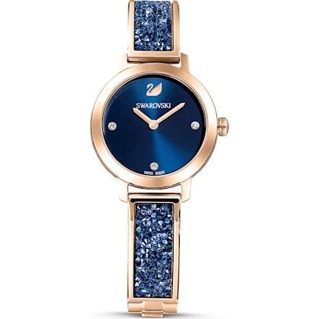 Montre Cosmic Rock, Bracelet en métal, bleu, PVD doré rose - Swarovski, 5466209