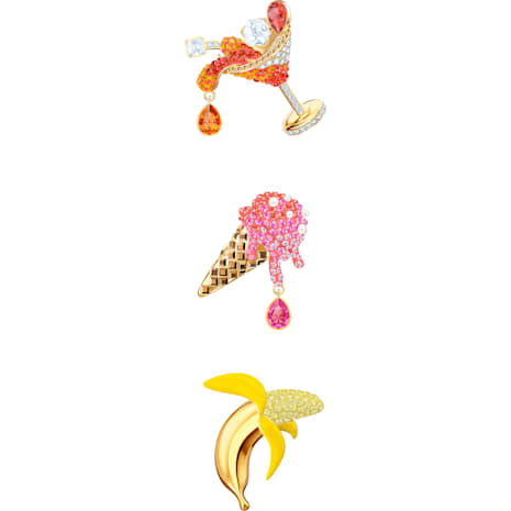 No Regrets Brooch Set, Multi-colored, Gold-tone plated - Swarovski, 5468254