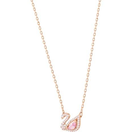 Dazzling Swan Necklace, Multi-colored, Rose-gold tone plated - Swarovski, 5469989