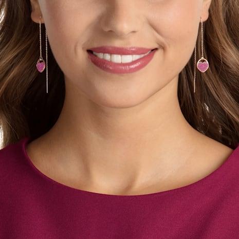 Ginger Pierced Earrings, Pink, Rose-gold tone plated - Swarovski, 5472445