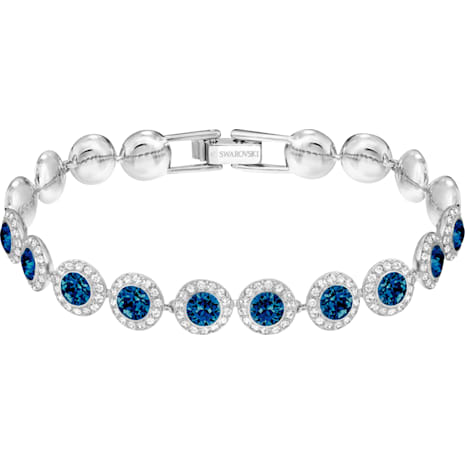 Angelic 手鏈, 藍色, 鍍白金色 - Swarovski, 5480484