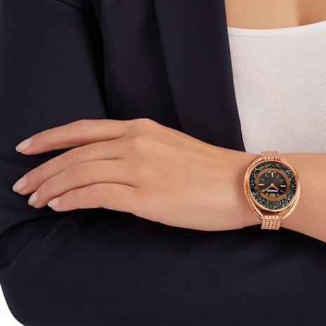 Crystalline Oval Uhr, Metallarmband, schwarz, Rosé vergoldetes PVD-Finish - Swarovski, 5480507