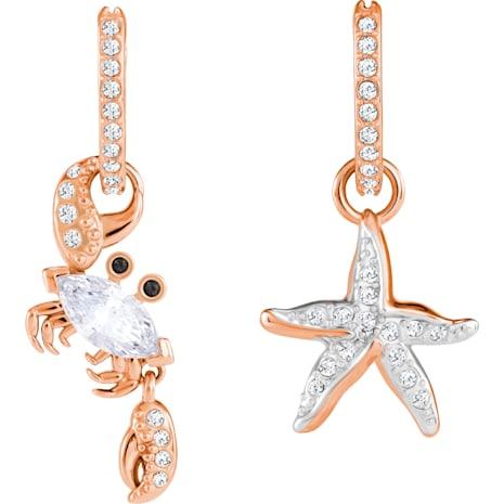 Boucles d'oreilles Ocean Crab, blanc, Métal doré rose - Swarovski, 5480784