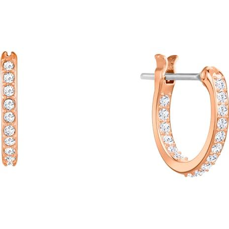 Ocean Crab Pierced Earrings, White, Rose-gold tone plated - Swarovski, 5480784