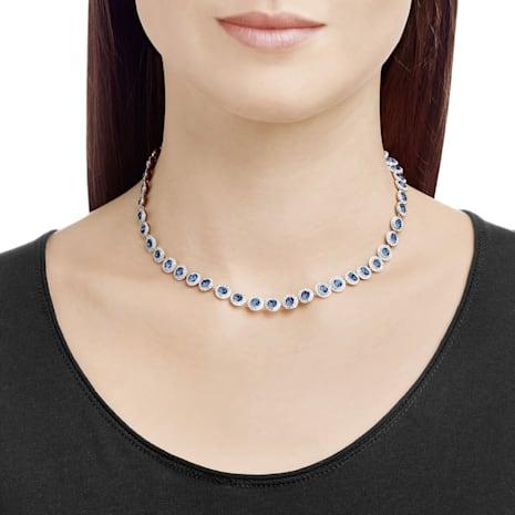 Angelic Necklace, Blue, Rhodium plated - Swarovski, 5482698