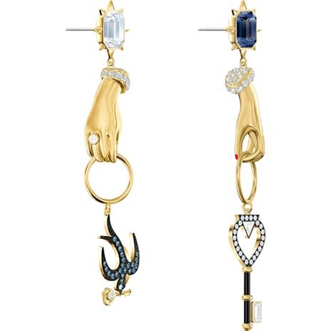 Tarot Magic Pierced Earrings, Multi-colored, Gold-tone plated - Swarovski, 5482975