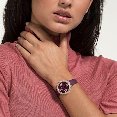 Crystal Frost Watch, Leather Strap, Dark red, Rose-gold tone PVD - Swarovski, 5484064
