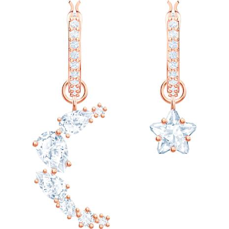 Penélope Cruz Moonsun Drop Pierced Earrings, White, Rose-gold tone plated - Swarovski, 5486354